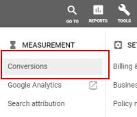 Tools: Conversions (AdWords)