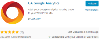 GA Google Analytics Install & Activate