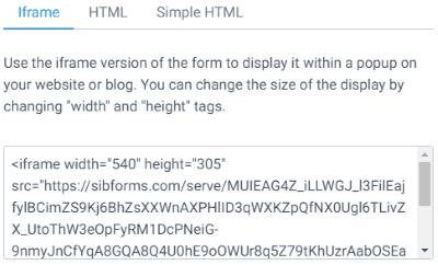 form code (iframe)