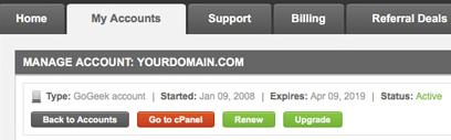 Siteground user area / interface