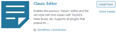 Classic Editor search results (in WordPress)