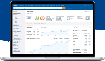 Ahrefs user interface