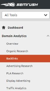 Domain Analytics - Backlinks (SEMrush)