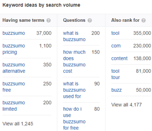 Keyword ideas by search volume (specific page)