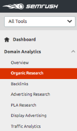 Domain Analytics Menu (Organic Research Tool)