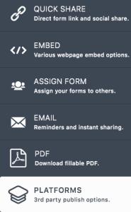 JotForm Platforms option