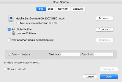 Mac VLC - Open Movie & Add Subtitle Track