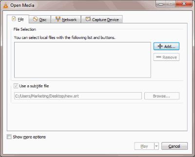 Windows VLC Open Media