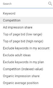 Add Filter (Google Keyword Planner Tool)