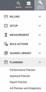 AdWords Menu Tools Settings Planning