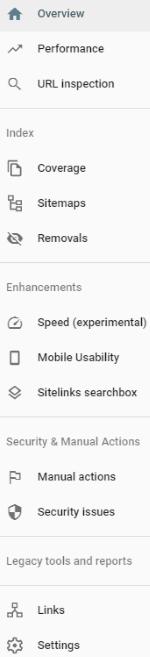Main Menu - Google Search Console Account