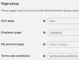Page setup, Cart, Checkout pages - Woocommerce