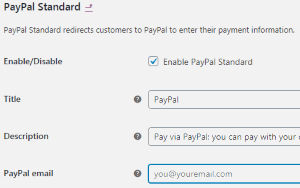 PayPal Settings page (Woocommerce plugin)