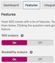 Yoast SEO Features tab