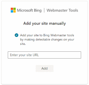 Add Site URL to Bing Webmaster Tools