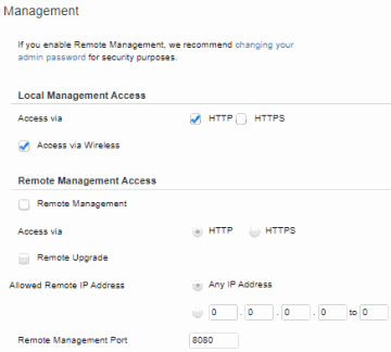 Administration, Management (Linksys Router)