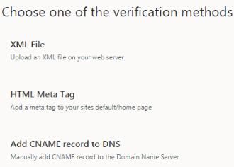 Choose Verification Methods - Bing Webmaster Tools