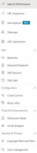 Main Navigation - Bing Webmaster Tools