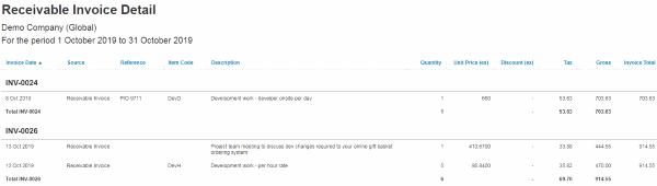 Xero Receivable Invoice Detail